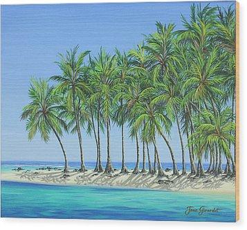 Tropical Lagoon Wood Print by Jane Girardot
