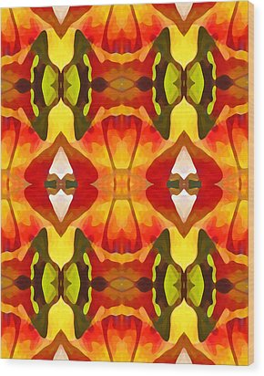 Tropical Leaf Pattern  9 Wood Print by Amy Vangsgard