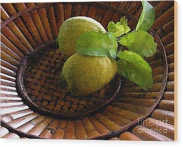 Tropical Lemons Wood Print by James Temple