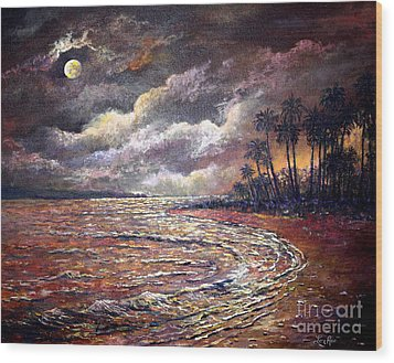Wood Print featuring the painting Tropical Moon by Lou Ann Bagnall
