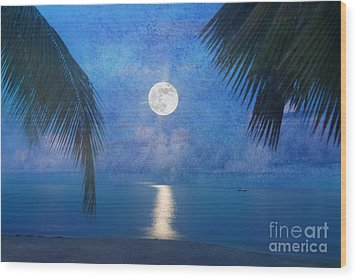 Tropical Moonglow Wood Print by Betty LaRue