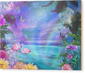 Tropical Moonlight Flamingos Wood Print by Alixandra Mullins