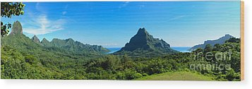 Tropical Moorea Panorama Wood Print