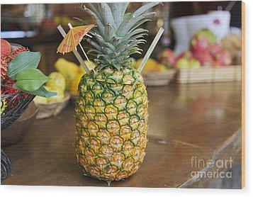 Tropical Pineapple Drink Wood Print by Brandon Tabiolo