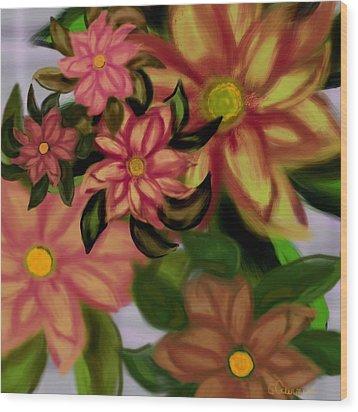 Tropical Plaid Wood Print by Christine Fournier