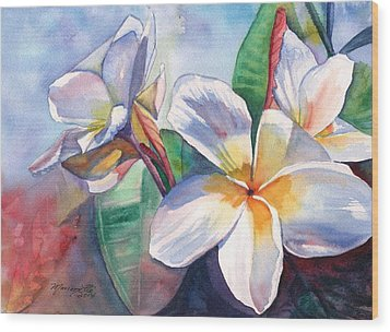 Tropical Plumeria Flowers Wood Print