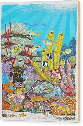 Tropical Reef Wood Print by Carey Chen