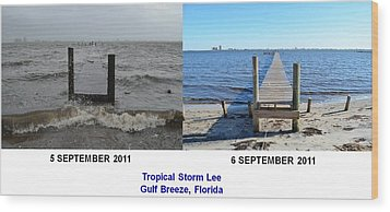 Tropical Storm Lee Difference A Day Makes Wood Print by Jeff at JSJ Photography