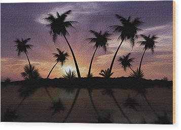 Tropical Sunset Wood Print by Aged Pixel