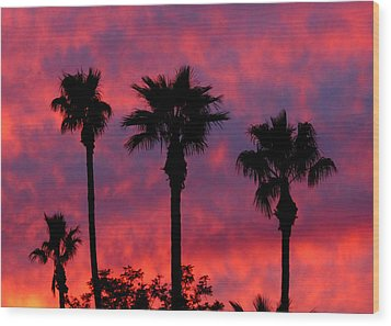 Tropical Sunset Wood Print by Laurel Powell