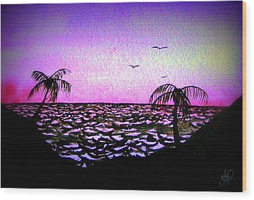 Tropical Sunset Wood Print