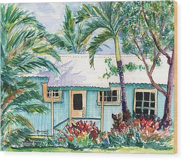 Wood Print featuring the painting Tropical Vacation Cottage by Marionette Taboniar