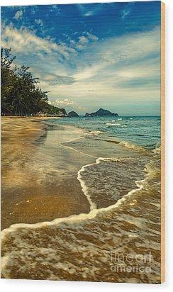 Tropical Waves Wood Print by Adrian Evans