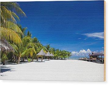 Tropical White Sand Beach Borneo Malaysia Wood Print by Fototrav Print