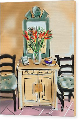 Wood Print featuring the painting Tropicana Motif by Jean Pacheco Ravinski