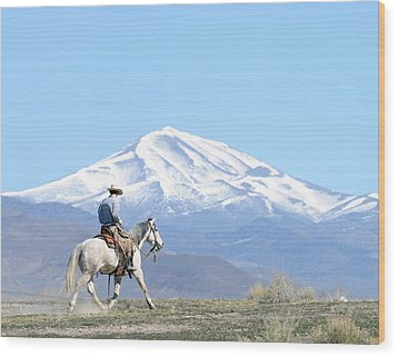Trotting Out Wood Print by Lee Raine