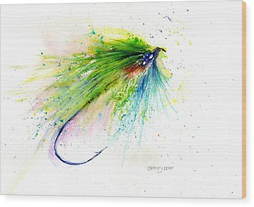 Trout Fly Wood Print by Christy Lemp