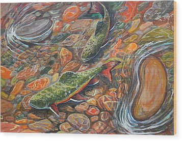 Wood Print featuring the painting Trout Stream by Jenn Cunningham