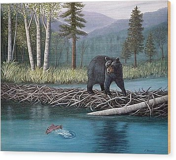 Wood Print featuring the painting Trout Temptation by Fran Brooks