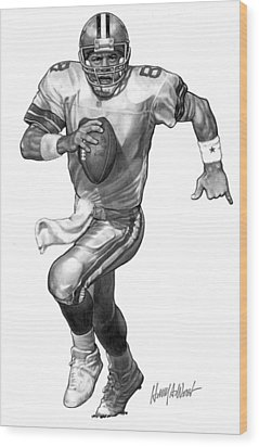 Troy Aikman Wood Print by Harry West
