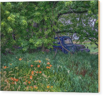 Truck In The Forest Wood Print by Paul Freidlund