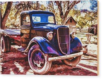 Truck Wood Print by Muhie Kanawati