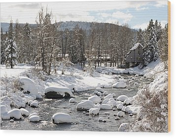 Truckee River At Christmas Wood Print by Denice Breaux