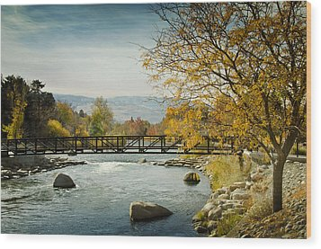 Wood Print featuring the photograph Truckee River Downtown Reno Nevada by Janis Knight