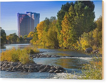 Truckee River From Sparks Wood Print by Janis Knight