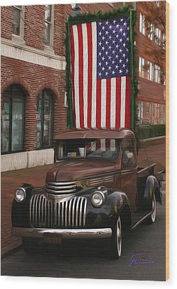 Truckin Old Glory Wood Print