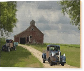 Trucks And Barn Wood Print by Jack Zulli