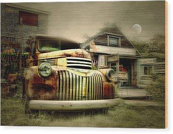 Truckyard Wood Print by Diana Angstadt