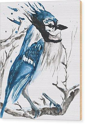 True Blue Jay Wood Print
