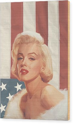 True Blue Marilyn In Flag Wood Print by Chris Consani