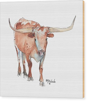 Square Walking Tall Texas Longhorn Watercolor Painting By Kmcelwaine Wood Print by Kathleen McElwaine