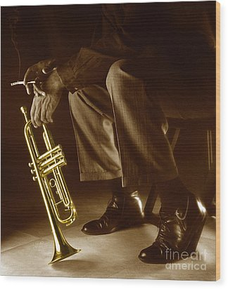 Trumpet 2 Wood Print by Tony Cordoza