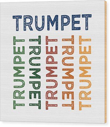Trumpet Cute Colorful Wood Print by Flo Karp