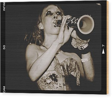 Wood Print featuring the photograph Trumpet Lady by Alice Gipson