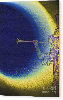 Trumpet Moon Wood Print by First Star Art