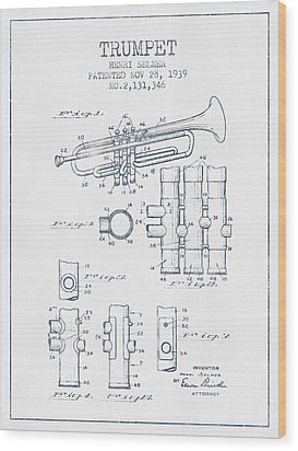 Trumpet Patent From 1939 - Blue Ink Wood Print by Aged Pixel