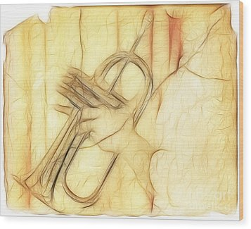 Trumpeter On The Scrap Of Paper - Grunge Style Wood Print by Michal Boubin