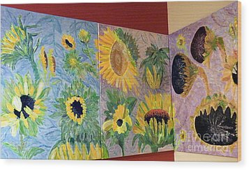 Tryptich Corner Sunflowers Wood Print