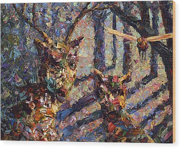 Tryst Wood Print by James W Johnson