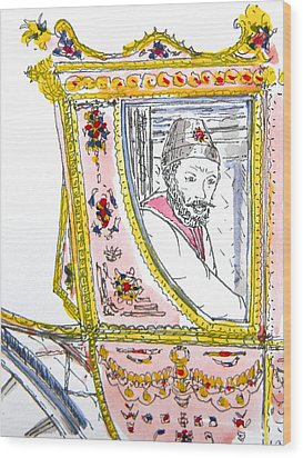 Tsar In Carriage Wood Print by Marwan George Khoury