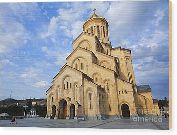 Tsminda Sameba Cathedral Tbilisi Georgia Wood Print by Robert Preston