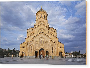 Tsminda Sameba Cathedral Tbilisi Wood Print by Robert Preston