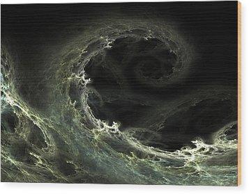 Wood Print featuring the digital art Tsunami by Richard Ortolano
