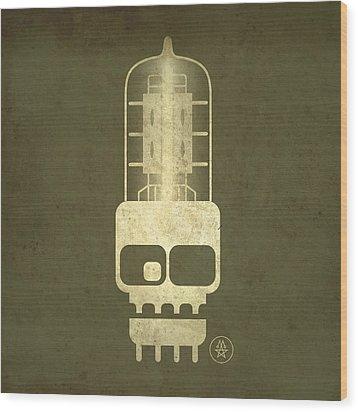 Wood Print featuring the digital art Tubeskull by Milton Thompson