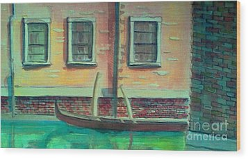 Tucked Into The Canal Wood Print by Rita Brown