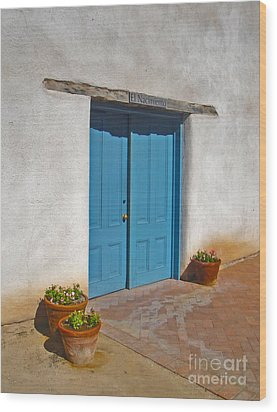 Tucson Arizona Blue Door Wood Print by Gregory Dyer